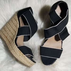 Candies black strappy open toe cork wedge Sz 8.5